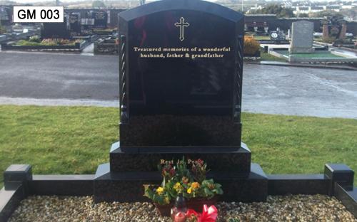 Gavins Memorials, Ballyhaunis, Co Mayo, Ireland.  Roped Boulder - GM 003