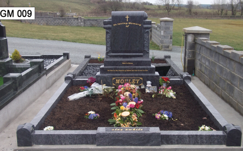 Gavins Memorials, Ballyhaunis, Co Mayo, Ireland.  Blue Lagoon Scroll - GM 009