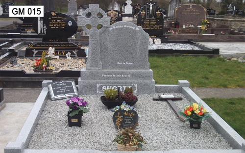 Gavins Memorials, Ballyhaunis, Co Mayo, Ireland.  Grey Granite Celtic Cross with G1 Face- GM 015