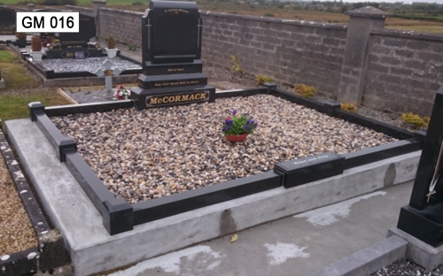 Gavins Memorials, Ballyhaunis, Co Mayo, Ireland.  Black Granite Scroll - GM 016