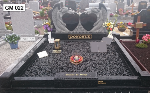 Gavins Memorials, Ballyhaunis, Co Mayo, Ireland. Black Granite Double Heart & Angel - GM 022