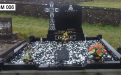 Gavins Memorials, Ballyhaunis, Co Mayo, Ireland.  Celtic Cross on side of Black Headstone 1 - GM 006