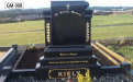 Gavins Memorials, Ballyhaunis, Co Mayo, Ireland.  Black Scroll with Roses - GM 008