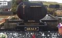 Gavins Memorials, Ballyhaunis, Co Mayo, Ireland.  Pointed Rugby Ball - GM 011