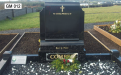 Gavins Memorials, Ballyhaunis, Co Mayo, Ireland.  Black Scroll - GM 012